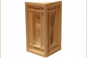 Kafel KOMINKOWY narożny połówka brzoskwinia 9,5x9,5x19 cm