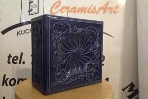 Kafel SECESJA narożny kobalt 22x11x22 cm