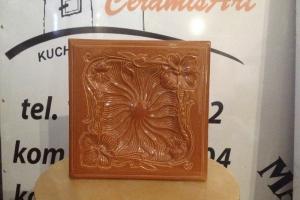Kafel SECESJA środkowy rudy 22x22 cm