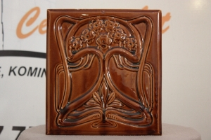 Kafel środkowy GRZYBEK o wymiarach 20x22cm w kolorze czekolada