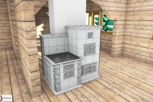 Kuchnia kaflowa połączona współną zabudową dookoła komina